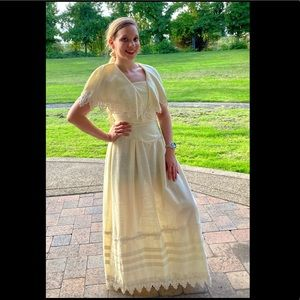 1970's Long White Linen Dress, with Victorian Lace